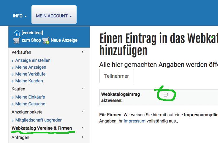 Webkatalog nicht aktiviert